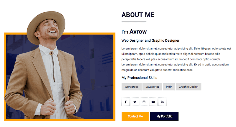 About Me Avrow Template