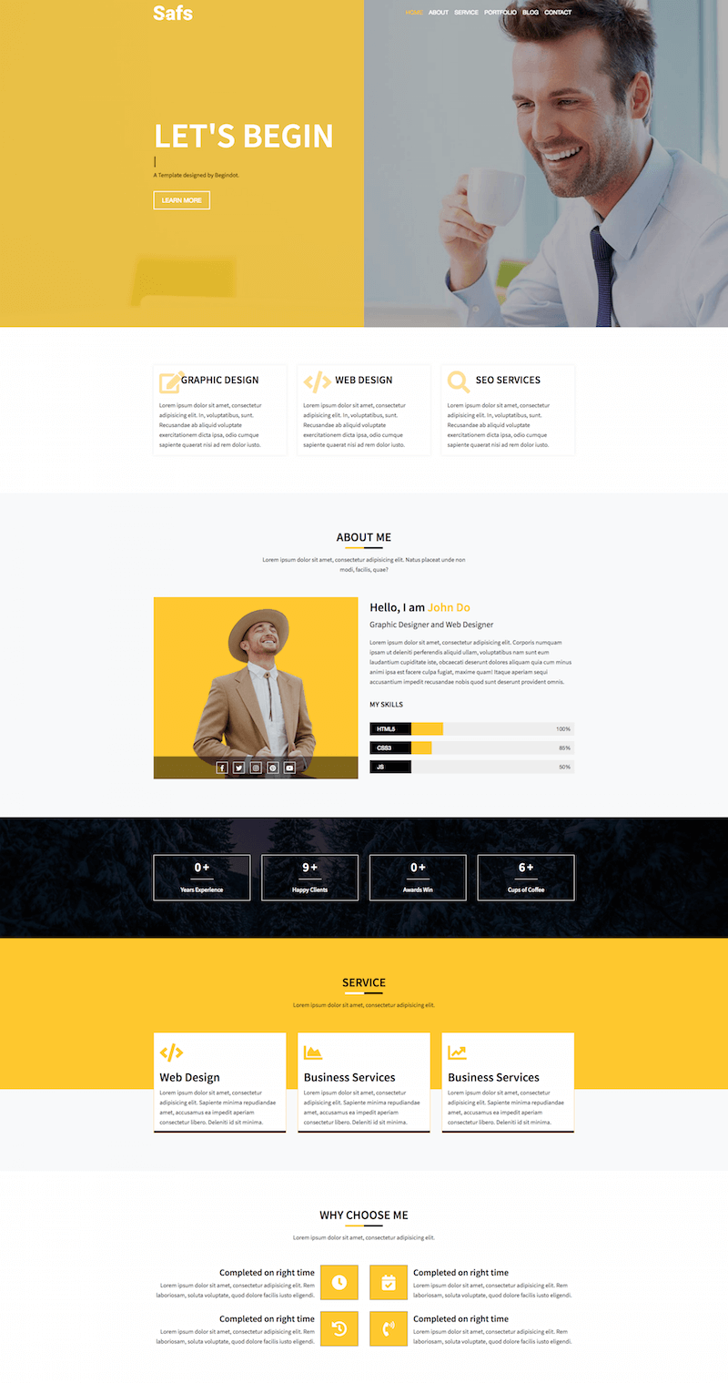 Safs Bootstrap 4 Template
