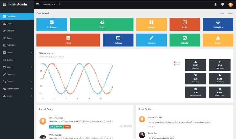Matrix Admin Template